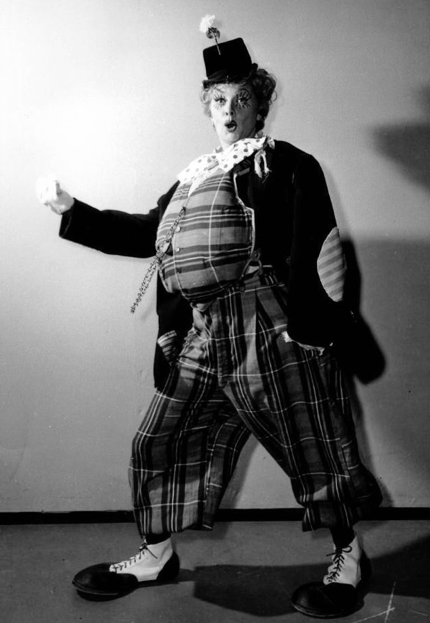 Lucille Ball dressed as a fat clown