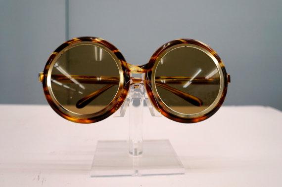 1960s Deadstock Designer Tortoise Round Sunglasses