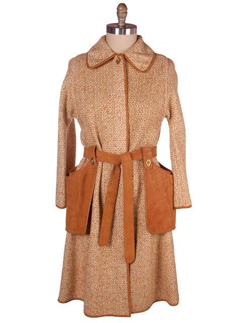 Vintage Ladies Coat Tweed & Leather Great Pockets Bonnie Cashin 1970s