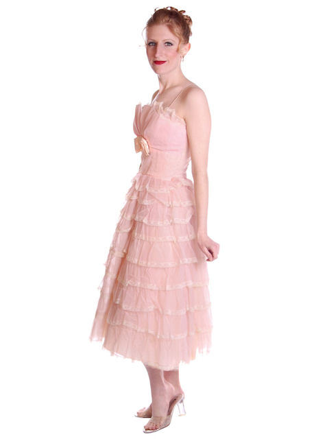 Vintage Pink Party Dress Chiffon Ruffles Skirt 1950s