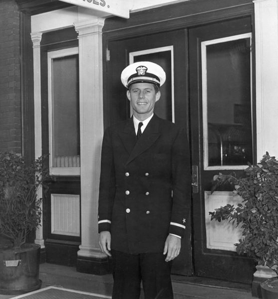 John F Kennedy in his naval uniform