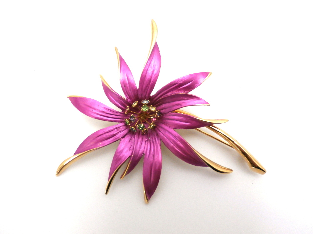 Vintage Large Bold Hot Pink Flower Brooch Lisa 1960s