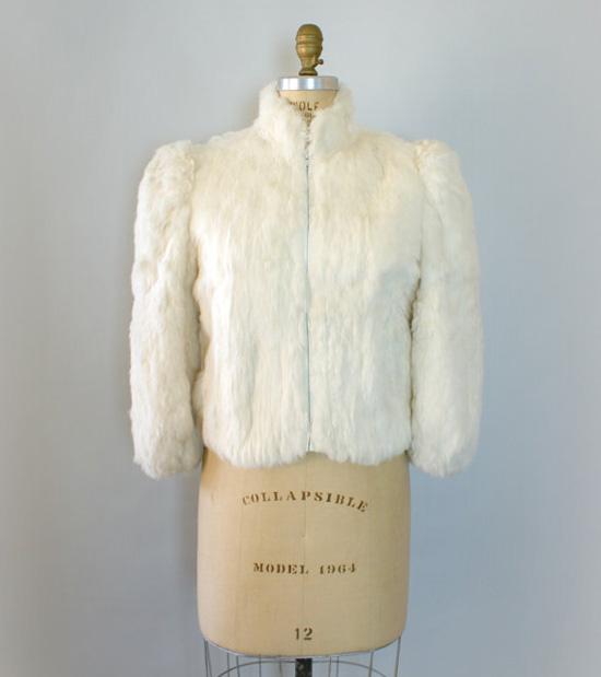 Vintage 1980s Fur Coat - White Rabbit Fur Cropped Coat
