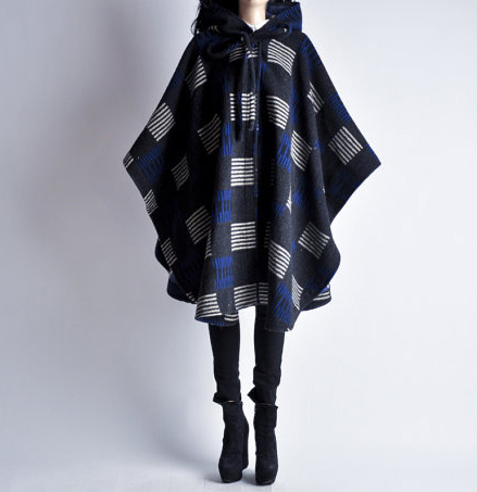 80s geometric print hooded blanket poncho cape coat