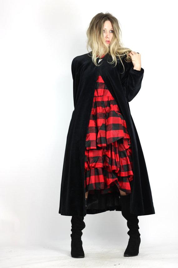 Vintage 80s Black Cloak Black Velvet Opera Cloak Dramatic Avant Garde Maxi Coat
