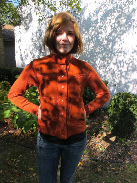 Vintage 1970s Boho Rust Orange Suede Leather Sweater Jacket