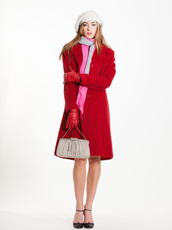 Vintage Calvin Klein Red Wool Coat Woman's Winter Coat