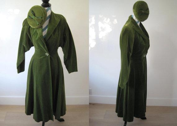 1950s Velvet Coat Dress Olive Green with Matching Velvet Pill Box Hat