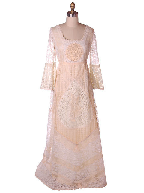 Vintage Cream Lace & Applique Wedding Dress Empire Waist 1970s