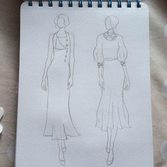 Vintage fashion sketch