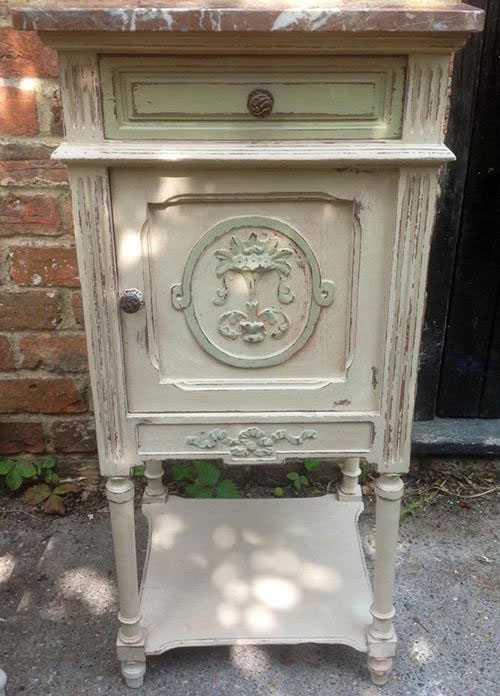 Victorian pot cupboard with marble top pained in AS Old ochre with Versailles detailing