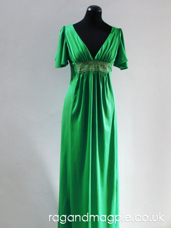Green 1970s Butterfly Sleeve Gown