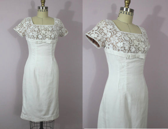 1950S White Lace Wiggle Dress