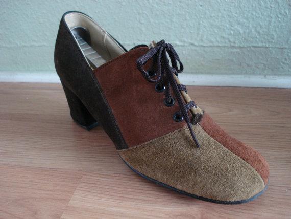 Vintage 1970s Patchwork Shoes Suede Hush Puppies