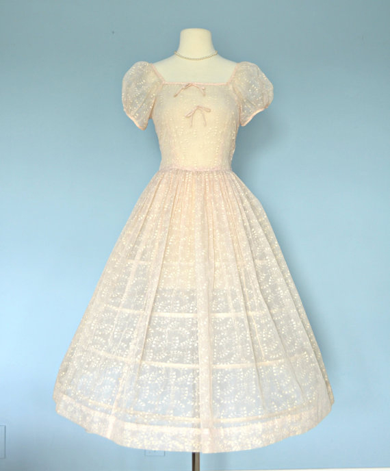 Vintage 1950s Pink Wedding Dress