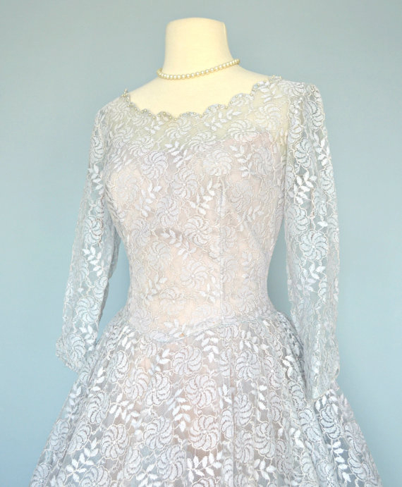 1950s Blue Lace Wedding Dress