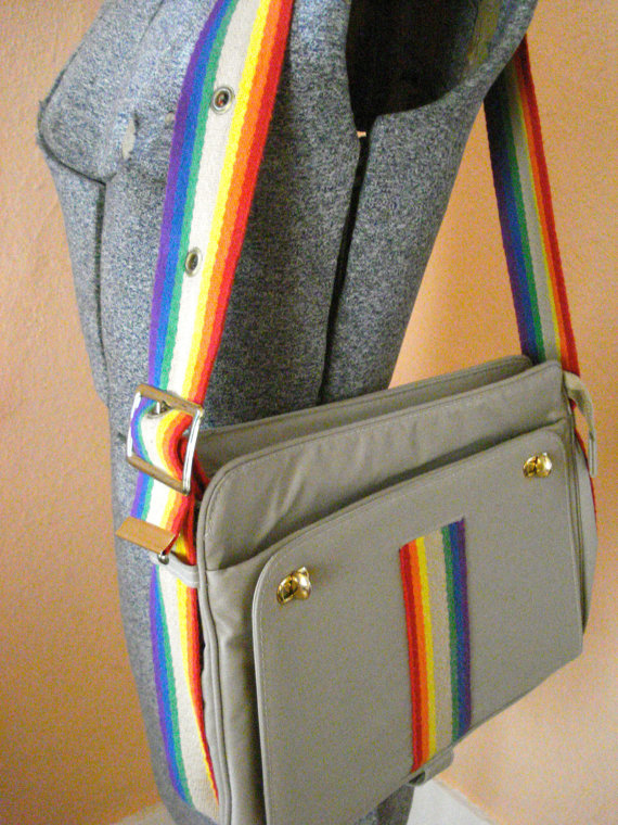 Vintage 1970s Canvas Rainbow Purse Book Bag