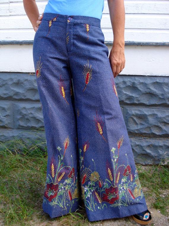 Vintage 1970s Bell Bottom Pants Hip Hugger