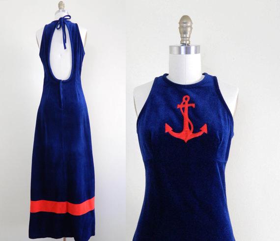 Vintage 1970s Nautical Dress Anchor Maxi Dress