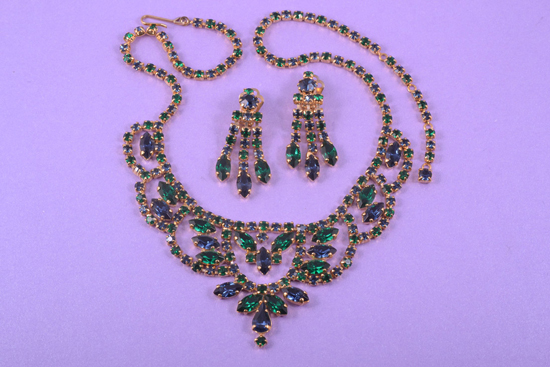 Matching necklace and chandelier earrings set
