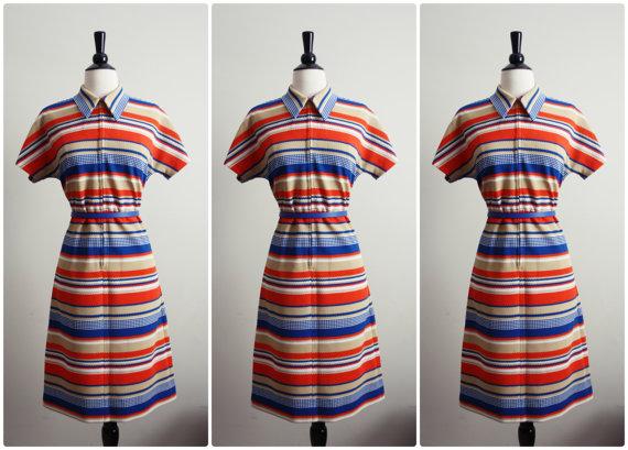 Vintage 60s Orange stripes Mod Mini Dress. Scooter dress.