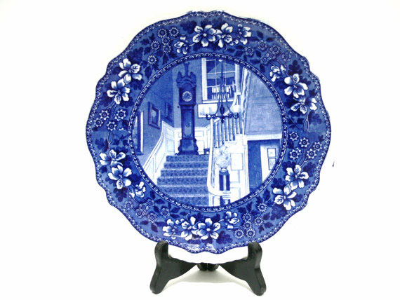Antique Flow Blue Transferware Plate - Longfellows Hallway Cambridge