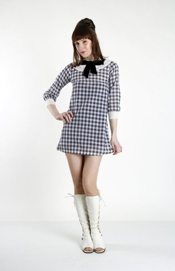 Plaid MiNi Dress 1960s BABYDOLL