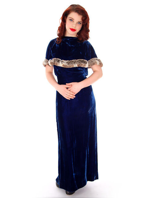 A wonderful vintage 1930s velvet and ermine evening gown