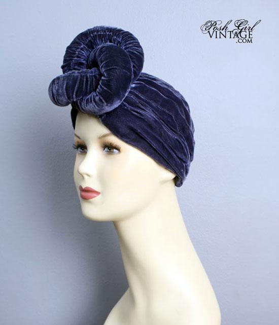 1930's Blue Velvet Twisted Turban Hat