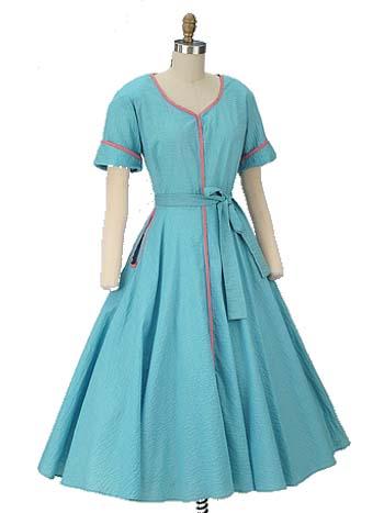 50s Pink Trim Aqua Plisse Full Skirt Day Dress-Large Size