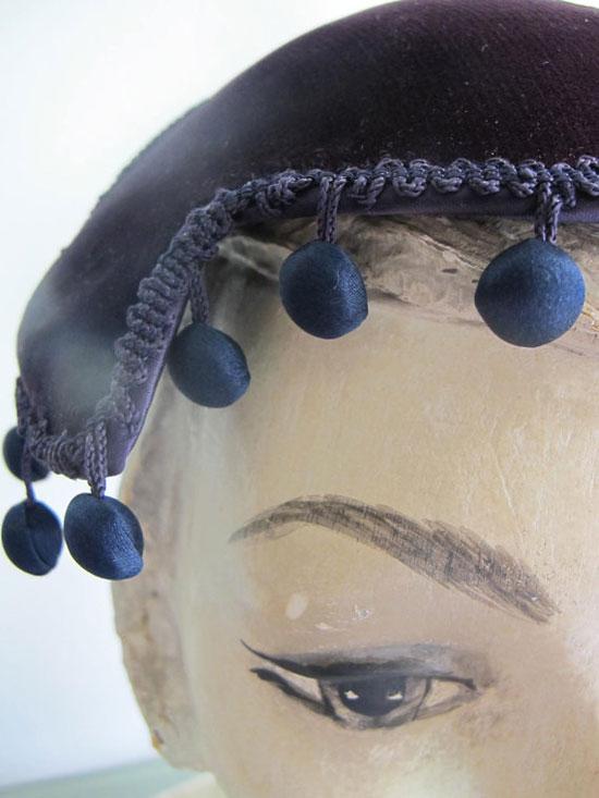 Vintage 1960s Black Velvet Ball Fringe Best and Co Fascinator Hat