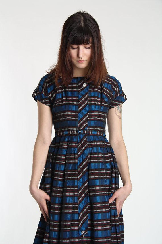 1950s Plaid Dress