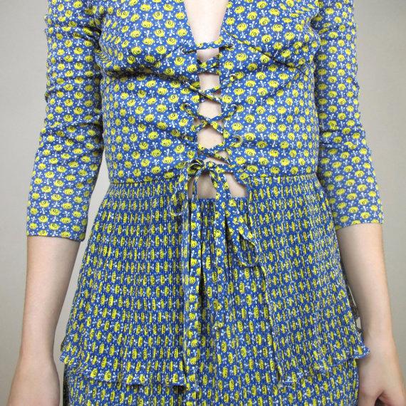 70s Floral Two Piece Dress Boho Peplum Blouse Skirt Set Lace Up Corset Top