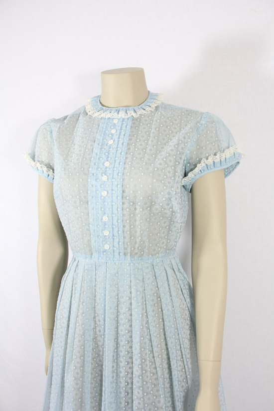 Semi Sheer Swiss Dot and Flocked Chiffon Light Blue Day Dress