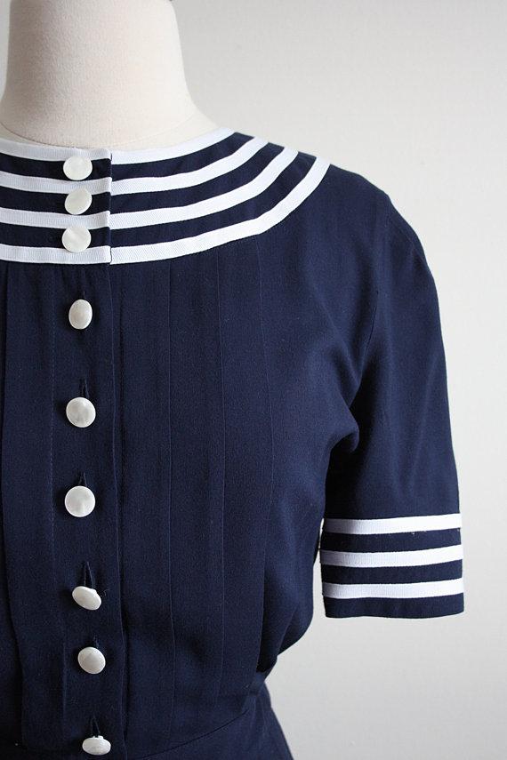 Vintage 80s Sailor Pin up Dress
