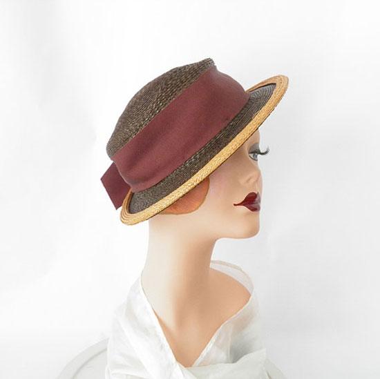 1930s tilt hat/ vintage brown straw
