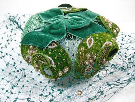 Green 1950s Danciger Hat Nip Pillbox With Veil