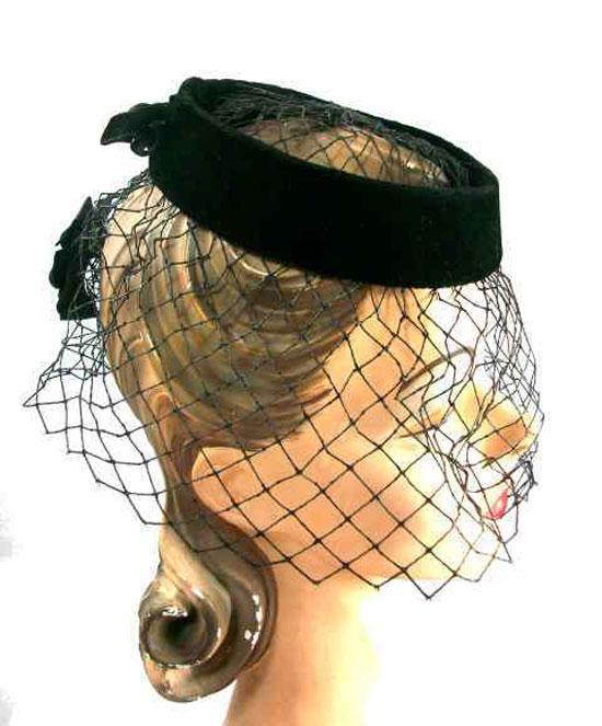 Vintage Black Whisper Velvet Cocktail Hat w/Net 1950s