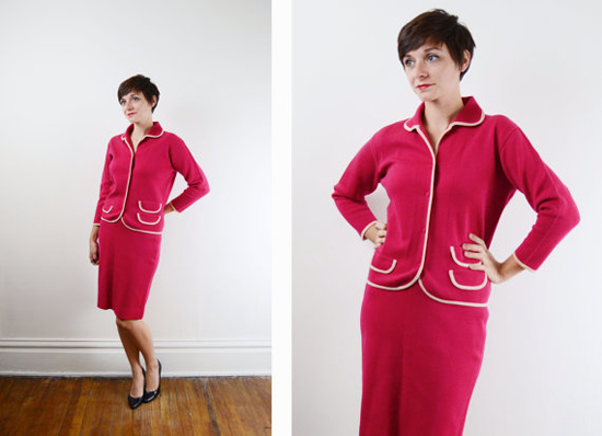 1960s Hot Pink Wool Suit