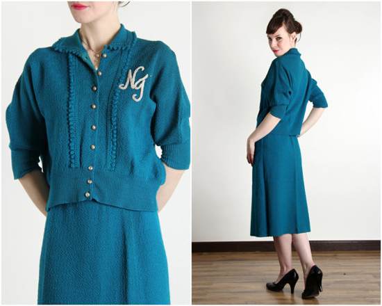 1950s Knit 2pc Teal Skirt Set