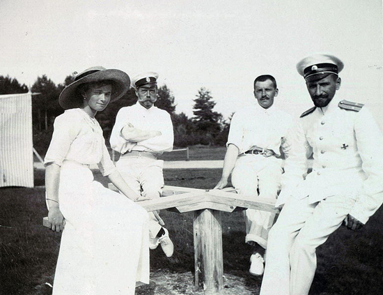 Tsar Nicholas II of Russia, his daughter Grand Duchess Tatiana Nikolaevna of Russia and officers Rodionov and Pavel Voronov at Finnish archipelago, Imperial tennis park Virolahti.