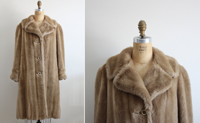 Vintage 60s Neutral Faux Fur Jacket