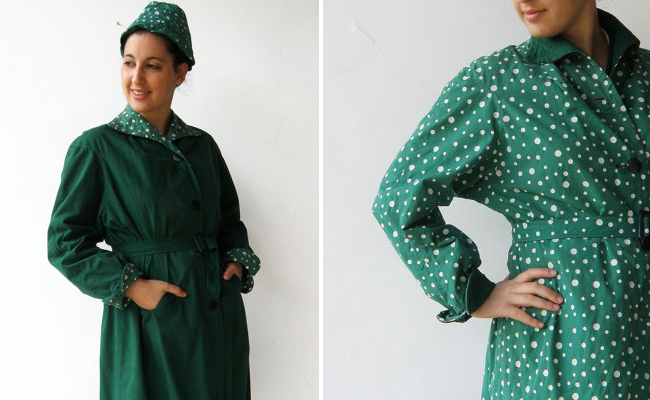 Vintage late 1950s Polka Dot Green Double Sided Raincoat Set