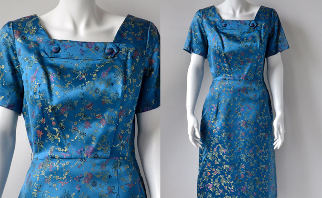 50s sapphire blue oriental brocade slim cocktail dress