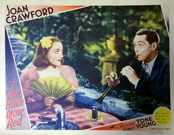 Lobby card from the 1937 film The Bride Wore Red.