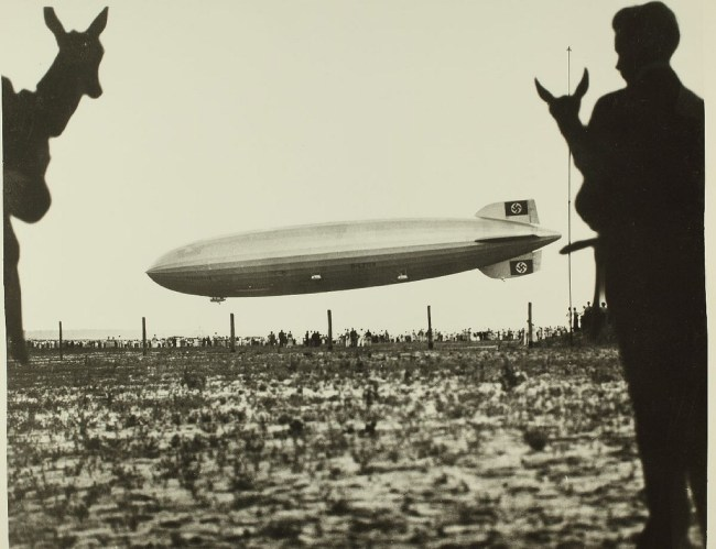 Hindenburg airship and antelopes