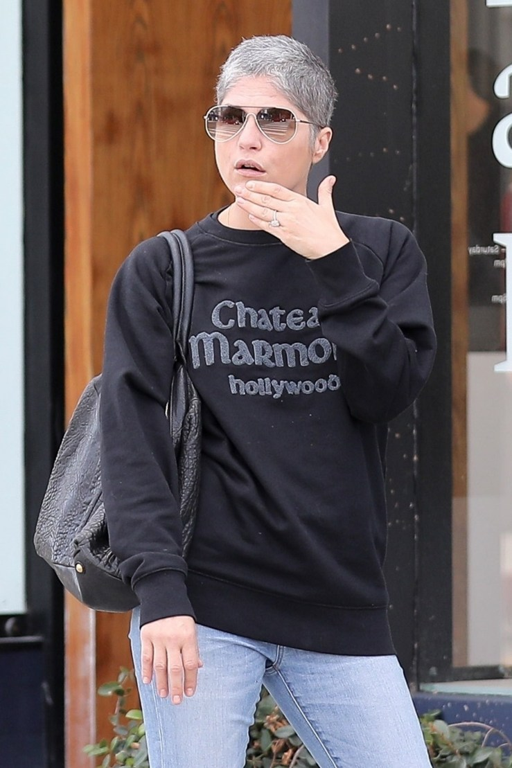 Selma Blair pictured wearing what appears to be an engagement ring