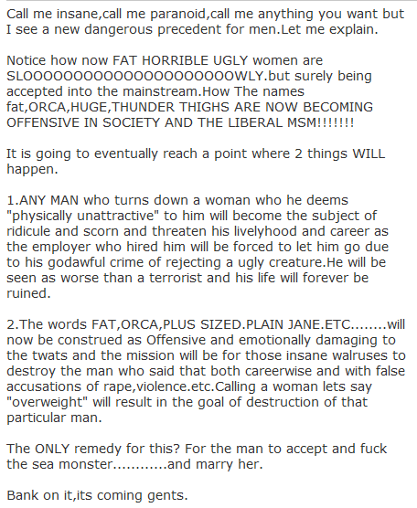 "Call me insane,call me paranoid,call me anything you want but I see a new dangerous precedent for men.Let me explain.  Notice how now FAT HORRIBLE UGLY women are SLOOOOOOOOOOOOOOOOOOOOOWLY.but surely being accepted into the mainstream.How The names fat,ORCA,HUGE,THUNDER THIGHS ARE NOW BECOMING OFFENSIVE IN SOCIETY AND THE LIBERAL MSM!!!!!!!  It is going to eventually reach a point where 2 things WILL happen.  1.ANY MAN who turns down a woman who he deems ""physically unattractive"" to him will become the subject of ridicule and scorn and threaten his livelyhood and career as the employer who hired him will be forced to let him go due to his godawful crime of rejecting a ugly creature.He will be seen as worse than a terrorist and his life will forever be ruined.  2.The words FAT,ORCA,PLUS SIZED.PLAIN JANE.ETC........will now be construed as Offensive and emotionally damaging to the twats and the mission will be for those insane walruses to destroy the man who said that both careerwise and with false accusations of rape,violence.etc.Calling a woman lets say ""overweight"" will result in the goal of destruction of that particular man.  The ONLY remedy for this? For the man to accept and fuck the sea monster............and marry her.  Bank on it,its coming gents."