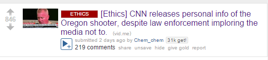 [Ethics] CNN releases personal info of the Oregon shooter, despite law enforcement imploring the media not to. (vid.me)