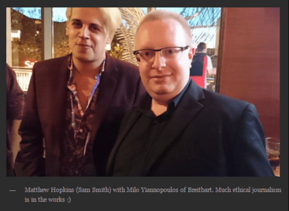 A black hole of media ethics: Sam Smith and Milo Yiannopoulos at a #gamergate London meetup (Screenshot from Smith's blog)